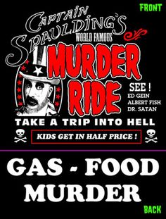 "Rob Zombie's Exclusive House of 1000 Corpses ""Murder Ride"" T-shirt With Back Print"