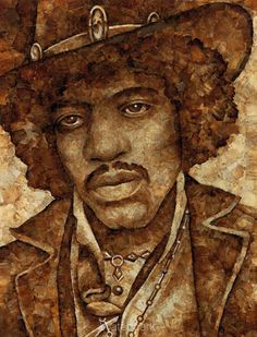 Jimi Hendrix - made from used, unrolled roach papers, by Cliff Maynard.