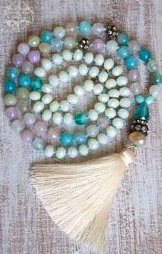 Ivory Silk Tassel Necklace, Spring Gemstones Necklace, Pastel Colourful  Boho Chic Necklace, Gift for her by VintageRoseGallery