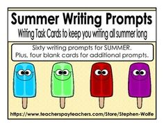 Sixty writing prompts for SUMMER plus four blank cards for additional prompts. These would be great for early finishers, a writing center, or table talk. These summer prompts would also be a great way to keep kids talking and writing all summer long.