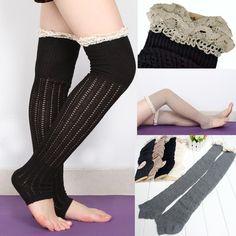 Multi cor Crochet guarnição malha de algodão polainas bota meias de alta cinza branco Sock-002217(China (Mainland))