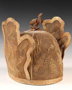 Gilt metalwork headdress, over wood or mammoth tusk. Liao Dynasty, China. 916-1125 AD.