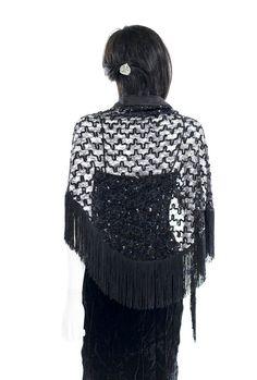 Black Lace Fringe Sequin Shawl Wrap Vintage by FiregypsyVintage