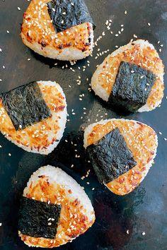 Yaki Onigiri (Grilled Japanese Rice Balls) With Pickled Shiitakes Recipe - NYT Cooking Japanese Pickles, Japanese Rice, Yaki Onigiri, Portable Snacks, Rice Balls, Tasty, Yummy Food, Asian Recipes, Vegan Recipes Japanese