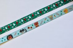 Ribbon - Table Football and Cute Animal Character Ribbon - Quality Children's Ribbon with Jacquard Weave green and duck egg blue wide Table Football, Bias Binding, Duck Egg Blue, Jacquard Weave, Green Backgrounds, Red Stripes, Natural Linen, Ribbons, Cute Animals