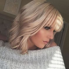 Good hair days #blonde #bangs #fringe