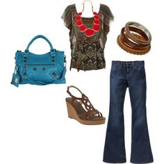 super adorable shirt. hate flare jeans though, more of a skinny jean type of person.