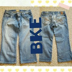 BKE JEANS Very short length size 27 jeans like Capri length all the distressing is way I bought got from the buckle excellent condition BKE Jeans