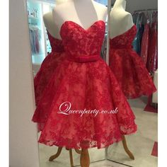 2016 Red Sweetheart Lace Short Prom Dress - Cocktail Dresses - Wedding Dresses