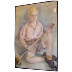 20th c. European School, Portrait of a Boy with Croquet Mallet, (N131) | From a unique collection of antique and modern paintings at http://www.1stdibs.com/furniture/wall-decorations/paintings/