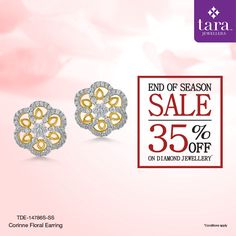 A dazzling pair of diamond studded gold earrings from the Fleur collection. http://bit.ly/2twSvVg #TaraJewellers #Diamondjewellery #Certfieddiamonds #BIShallmarkedjewellery