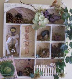 Handmade Shabby Chic Nature inspired Shadow Box Wall Decor