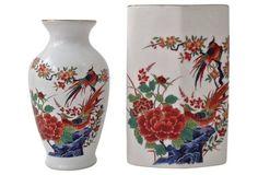 Kutani Pheasant Vases, S/2 $95 ~~~SOLD~~~