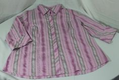 Lane Bryant Womens Career Shirt Plus Size 18/20 Pink Striped Button up Collared #LaneBryant #ButtonDownShirt #Career