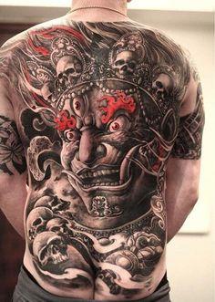 Small flower tattoos are really in fashion. Whether you choose a flower design or it is your favorite superhero tattoo, you will look fashionable. Kali Tattoo, Backpiece Tattoo, Demon Tattoo, Sick Tattoo, Badass Tattoos, Skull Tattoos, Body Art Tattoos, Sleeve Tattoos, Tatoos