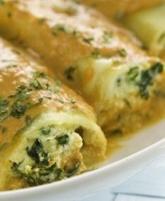 Spinach and Feta Cannelloni.  This website has a bunch of recipes for one person meals.  www.singlefare.com