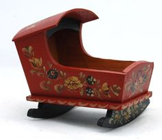 Dollhouse Miniature Cradle Artist Joan Wheatley Hindeloopen Rosemaling Folk Art #Unbranded