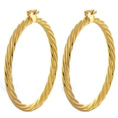 """2"""" Large Twisted Hoop Yellow Gold Plated Earrings Notched Back Gem Stone King. $18.95. Notched back. 2 Inch. 10.00 grams"""