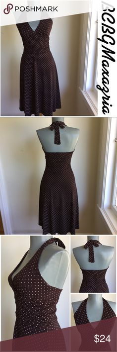 """BCBGMAXAZRIA Brown with coral Poka Dots Dress. BCBGMAXAZRIA Brown with coral Poka Dots Fit and Flare Size S Dress.  Stretchy fabric.  Flat lay measurements. Between underarms 15"""". Waist 12"""". Length 37 3/4"""". Summer perfect.  ••••••••••••••••••••••FIRM PRICE•••••••••••••••••••••••••••• BCBGMaxAzria Dresses Midi"""
