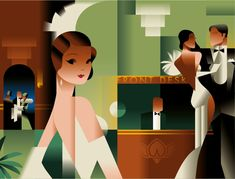 Mads Berg Danish illustrator and poster artist, with a style that is in between art deco and retro futurism