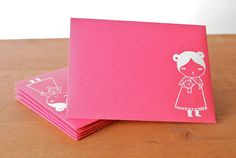 pink fairytale girl with teddy envelopes by isavirtue on etsy