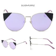 Sunglasses Frame Material:Metal, Silver, Black or GoldLens:Mirrored, 4Color Options100% UVA/UVB Protection Lens Width: 60MM Lens Height: 55 MM