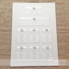 Ivory Lace Wedding Stationery | The Snow White Collection - Table Plan | Seating Chart | Featuring ivory hammer card, ivory lace, ivory ribbon and pearl and diamante bow | Luxury handmade wedding invitations and stationery #byenchanting