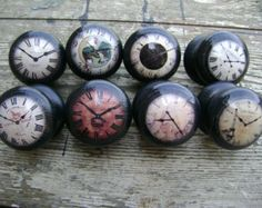 Set of 8 assorted designs, Vintage clock faces, 45mm wooden decoupage knobs