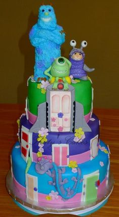 Tiered Monsters, Inc. Cake, on Craftsy
