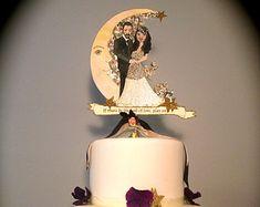 Wedding Cake Topper - Custom Illustrated - Hand Painted  - Vintage Details