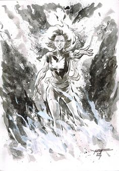 Day 21 - PHOENIX inkwash on A4 canson paper