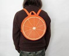 Vintage backpack / 90s orange novelty plastick back pack by nemres