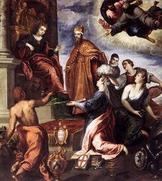 Palma Giovane (Jacopo Negretti), c.1548-1628, Italian, Doge Francesco Venier Presents the Subject Cities to Venice, 1595.  Oil on canvas, Palazzo Ducale, Venice.  Mannerism.