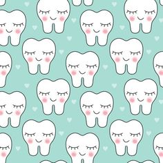 smiling teeth-and-hearts fabric by lilcubby on Spoonflower - custom fabric Dental Wallpaper, Pop Art Wallpaper, Heart Wallpaper, Dentist Art, Dentist Logo, Tooth Clipart, Dental Photos, Tooth Tattoo, Cute Tooth