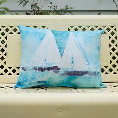 Watercolor Sailboat Pillow | North Carolina Decor