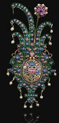 19th Century Persia, Turban Ornament, Rubies, Emeralds, and Pearls.