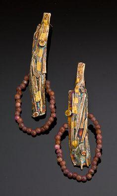 J. Pallister, earrings, silver, gold, rhodochrosite