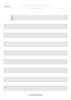 Free Blank Sheet Music sheet music by Jan Walter. Part: Tablature for guitar.