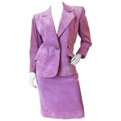 Preowned 1980s Saint Laurent, Yves Power Lilac Suede Set (€945) ❤ liked on Polyvore featuring purple, skirt suits and yves saint laurent