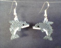 Brick Stitch Dolphin Earrings Delica Seed Beads by Beadedforu, $15.00