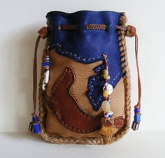SEAL deerskin leather Medicine Bag, Spirit Pouch, Cell Case with Fossil Ivory, Mother of Peral, Shiva Eye beads, beach glass