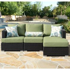 Shop for Corvus Sorrento Brown Wicker Patio Furniture Set with Sunbrella Cushions. Get free delivery On EVERYTHING* Overstock - Your Online Garden & Patio Shop! Backyard Furniture, Patio Furniture Sets, Patio Seating, Small Patio, Outdoor Decor, Deep, Costco, Sunroom