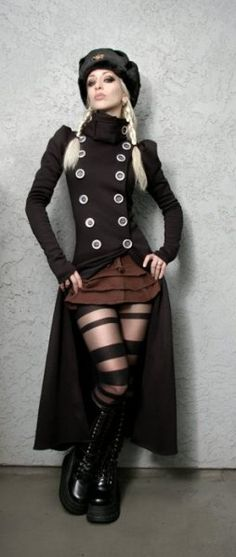 Steampunk goes short skirt/ long jacket!
