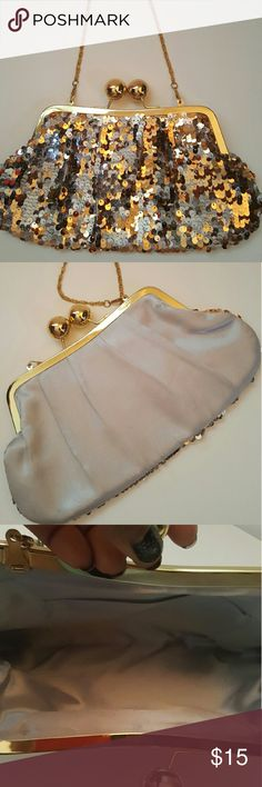 Gold and Silver Sequin Evening Bag Okay condition  Some sequins are missing Great evening tote to tote somewhere Measurements above? Bags Totes