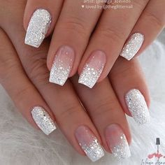 Classy Nails, Stylish Nails, Cute Nails, Pretty Nails, Elegant Nails, Glitter Nails, Gel Nails, Nail Glitter Design, Coffin Nails