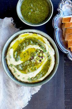 Thyme Pistachio White Bean Dip topped with Thyme Pistachio Pesto - CaliZona