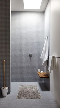 Bathroom Shower Tile Ideas Grey Elegant Bathroom Trends 2014 Grey Tiles Like This Tile for the Shower and the Little Simple Bench Bathroom Toilets, Laundry In Bathroom, Simple Bathroom, Skylight Bathroom, Bathroom Cleaning, Shower Bathroom, Master Shower, Vanity Bathroom, Diy Shower