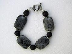 www.facebook.com/MelissaPetrelliJewelry  Melissa Petrelli Jewelry Larvikite Lava Rock Sterling Silver Bracelet