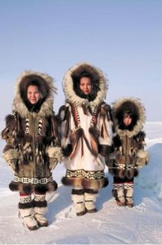 Inuit, Inupiat, and Yupik people, called Eskimos by 19th century Europeans, are the original inhabitants of the Arctic tundra of northern Canada, Alaska, Russia and Greenland. About 100,000 of them still live there. They were nomadic hunter-gatherers and lived near the coast in summer, building up food reserves for the winter. The rest of the year, they travelled hunting caribou, seals, polar bears, and whales...(click to see more).