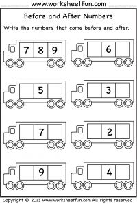 Before and After Numbers – 5 Worksheets - FREE PRINTABLE WORKSHEETS